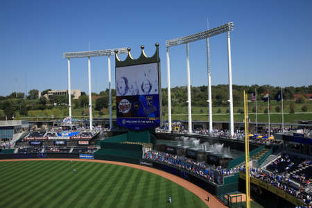 royals: Kansas City, Missouri - September 27, 2009: Crown scoreboard and fountain seats at Kauffman Stadium, home of the Kansas City Royals   Editorial