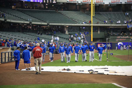 Milwaukee, Wisconsin - April 24, 2010: The Chicago Cubs enter the field at Miller Park before a game against the home team Brewers
