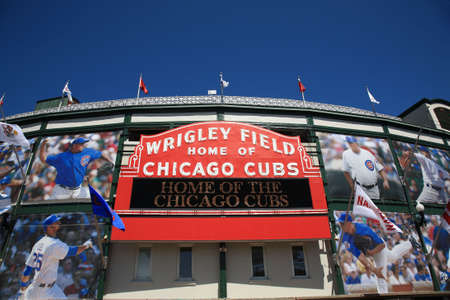 Chicago: Chicago, Illinois - April 26, 2010: A new look for historic Wrigley Field and the famous welcome sign of the Chicago Cubs
