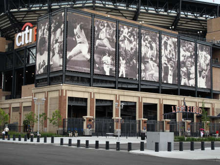 New York, August 19, 2009: Famous baseball players depicted at the Mets concrete and old fashioned brick Citi Field during its first season  Editorial