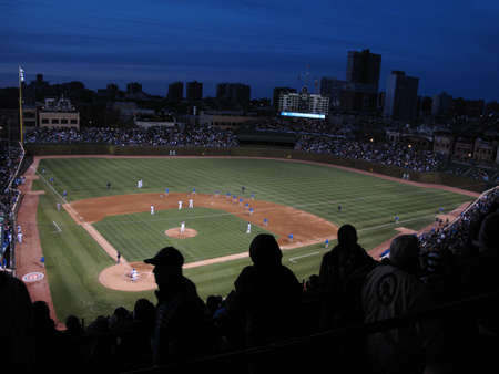 Chicago, Illinois - April 26, 2010: Rare Wrigley Field night game pitting the Chicago Cubs against the Washington Nationals  Editorial