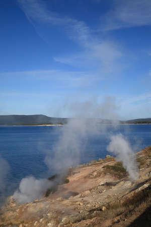 Yellowstone Lake and Hot Springs photo