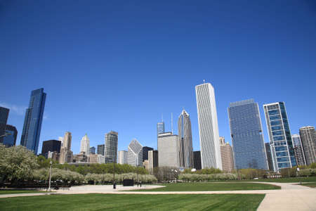 Chicago Skyline and city park