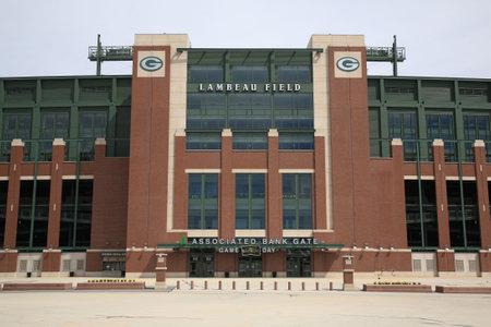 Green Bay, Wisconsin - 23 April 2010: Toegang tot historische Lambeau veld in Wisconsin. Het stadion Packers NFL wordt soms aangeduid als de bevroren toendra Redactioneel
