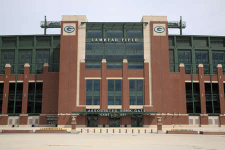 Green Bay, Wisconsin - April 23, 2010: Entrance to historic Lambeau Field in Wisconsin. The Packers NFL stadium is sometimes referred to as the Frozen Tundra