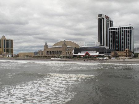 Atlantic City, New Jersey - May 19, 2010: Boardwalk Hall, Trump Plaza Casino Hotel and the New Jersey shore