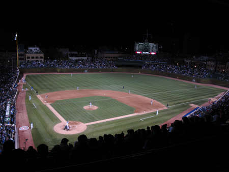 Chicago, Illinois - April 26, 2010: Wrigley Field night game pitting the Chicago Cubs against the Washington Nationals