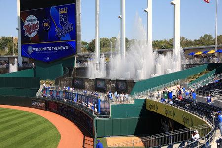 Kansas City, Missouri - September 27, 2009: Fans enjoy the fountain seats at Kauffman Stadium, home of the Kansas City Royals
