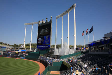 royals: Kansas City, Missouri - September 27, 2009: Fans enjoy the fountain seats at Kauffman Stadium, home of the Kansas City Royals