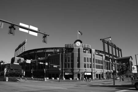 Denver, Colorado - September 30, 2009: Coors Field, the downtown home of the Colorado Rockies in black and white.
