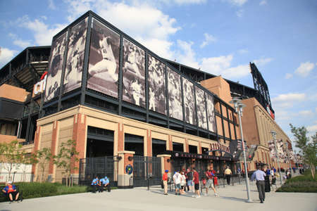 depicted: New York, June 23, 2010: Famous baseball players depicted at the Mets concrete and old fashioned brick Citi Field Editorial