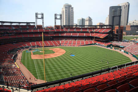 St. Louis, September 18, 2010: Busch Stadium, downtown ballpark of the Cardinals, with the city skyline Stock Photo - 7996760