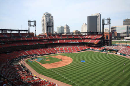 St. Louis, September 18, 2010: Fans gather for a late season Cardinals game at Busch Stadium, under the city skyline.