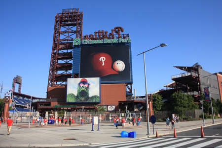 Philadelphia, Pennsylvania - September 7, 2010: Citizens Bank Park, the Phillies concrete and old fashioned brick ballpark in South Philadelphia, before a game against the Florida Marlins.