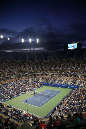 us open: New York - September 9, 2010: A crowded Arthur Ashe Stadium for a night U.S. Open tennis match in Queens, New York City.