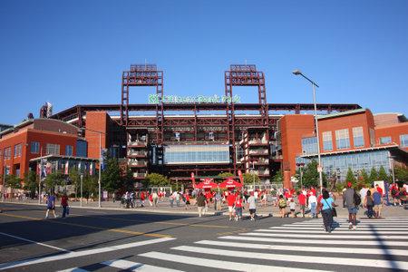 Philadelphia, Pennsylvania - 7 September 2010: Citizens Bank Park, de Phillies concrete en oude ouderwetse baksteen ballpark in South Philadelphia, vóór een spel tegen de Florida Marlins.
