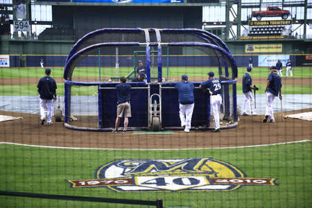 brewers: Milwaukee, Wisconsin - April 24, 2010: Batting practice at Miller Park before a Brewers game against the Chicago Cubs.