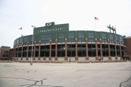 Green Bay, Wisconsin - 23 april 2010: Historisch Lambeau Field in Wisconsin. Het Packers NFL-stadion wordt soms de Frozen Tundra genoemd.