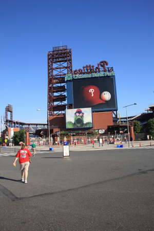 Philadelphia, Pennsylvania - September 7, 2010: Fans arrive at Citizens Bank Park, the Phillies concrete and old fashioned brick ballpark in South Philadelphia, before a game against the Florida Marlins.