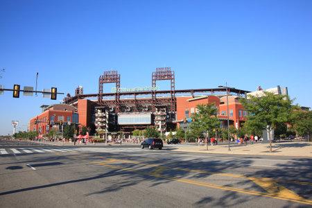 ballpark: Filadelfia - el 7 de septiembre de 2010: Ciudadanos Bank Park, el estadio de ladrillo envejecido concretas y antiguo Phillies en sur de Filadelfia, antes de un partido contra los Marlins de Florida.   Editorial