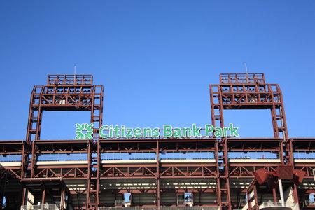 Filadelfia - el 7 de septiembre de 2010: Ciudadanos Bank Park, el estadio de ladrillo envejecido concretas y antiguo Phillies en sur de Filadelfia, antes de un partido contra los Marlins de Florida.   Foto de archivo - 8822138