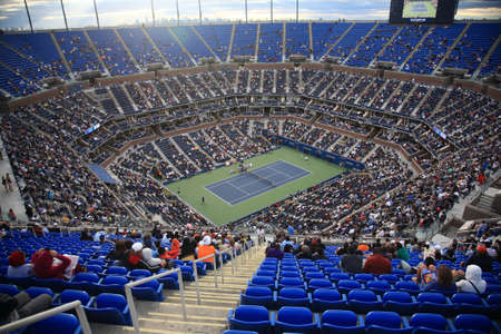 center court: New York - September 9, 2010: A crowded Arthur Ashe Stadium for a U.S. Open tennis match in Queens, New York City.