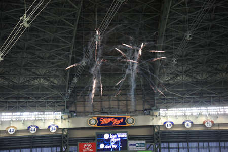 brewers: Milwaukee, Wisconsin - April 24, 2010: Brewers fireworks at a baseball game at Miller Park against the Chicago Cubs under a closed dome.