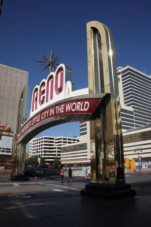 Reno, Nevada - September 22, 2008: Vintage Virginia Street welcome in Nevada gaming city on a sunny day.   Stock Photo - 8965133
