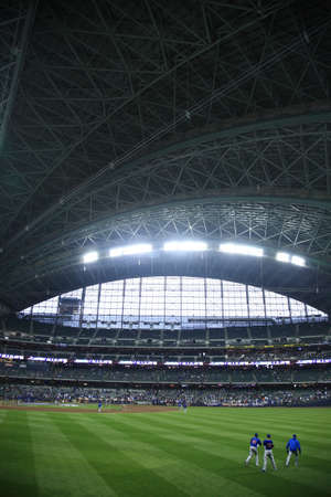 Milwaukee, Wisconsin - April 24, 2010: Brewers fans await a baseball game at Miller Park against the Chicago Cubs under a closed dome. Editorial