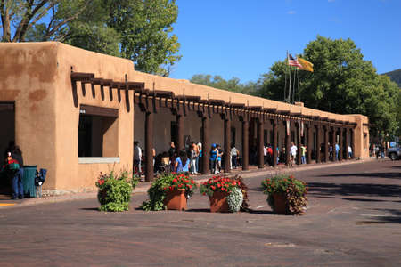 Santa Fe, New Mexico - September 23, 2010: Shoppers and tourists at the Native American market at the Palace of the Governors in Santa Fe.