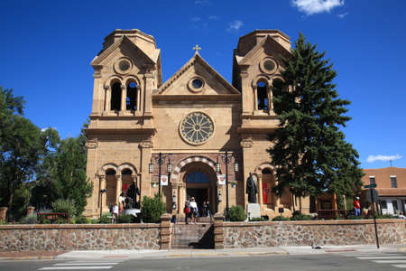 nm: Santa Fe, September 23, 2010: A crowded Basilica of St. Francis of Assisi, a Santa Fe landmark built in the 1800s.