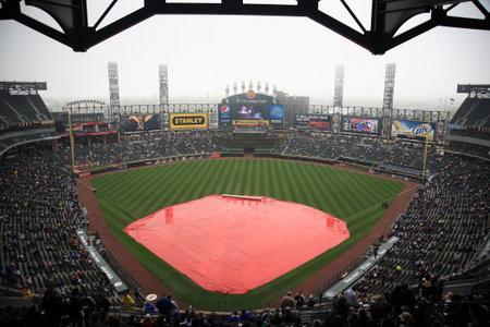 Chicago, Illinois - April 25, 2010: White Sox rain delay at U.S. Cellullar Field, including the upper deck facade. Stock Photo - 9020911