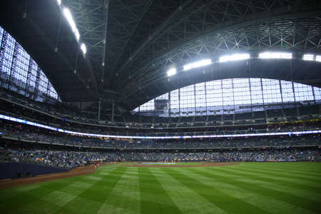 Milwaukee, Wisconsin - April 24, 2010: Brewers fans await a baseball game at Miller Park against the Chicago Cubs under a closed dome.