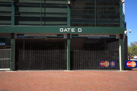 ballpark: Chicago, Illinois - el 26 de abril de 2010: Puerta en la esquina de la calle de Addison y Avenida Sheffield, famoso discurso de Wrigley Field, estadio hogar de los cachorros de Chicago.