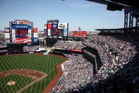 New York, 26 April 2009: Citi Field, home ballpark van de New York Mets tijdens een zonnige dag spel.