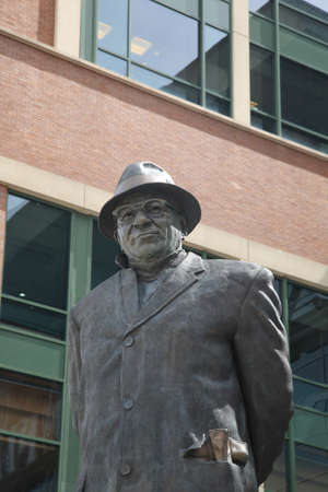 Green Bay, Wisconsin - April 23, 2010: Vince Lombardi statue at historic Lambeau Field in Wisconsin. The Packers NFL stadium is sometimes referred to as the Frozen Tundra. Editorial
