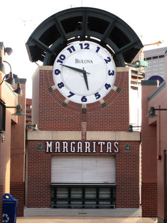 Denver, Colorado - September 30, 2009: Reverse vieew of Coors Field clocktower rises over the entrance gates at the downtown home of the Colorado Rockies