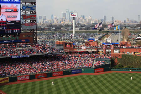 Philadelphia, Pennsylvania - April 7, 2011: A  view of the Philadelphia skyline at Citizens Bank Park, home of the Phillies.