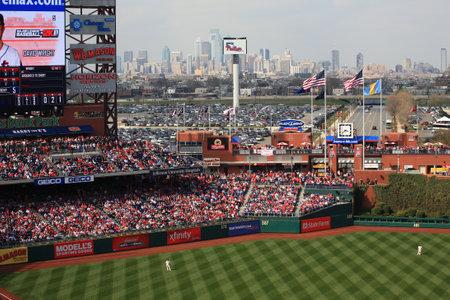 Philadelphia, Pennsylvania - April 7, 2011: A  view of the Philadelphia skyline at Citizens Bank Park, home of the Phillies.