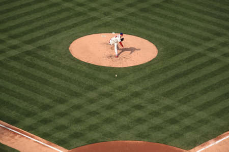 Philadelphia, Pennsylvania - April 7, 2011: Roy Halladay pitches against the New York Mets at Citizens Bank Park, the Phillies home ballpark.