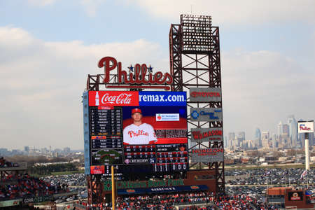 Philadelphia, Pennsylvania - April 7, 2011: Star pitcher Roy Halladay on the scoreboard at Citizens Bank Park, home of the Philadelphia Phillies.