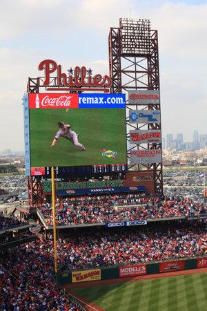 Philadelphia, Pennsylvania - April 7, 2011: Diving catch on the scoreboard at Citizens Bank Park, home of the Philadelphia Phillies.