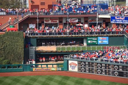 Philadelphia, Pennsylvania - April 7, 2011: A  view of the bullpens at Citizens Bank Park, home of the Philadelphia Phillies.