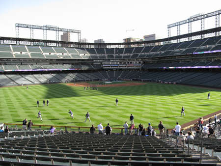 Denver, Colorado - September 30, 2009: Early arriving fans at Coors Field, downtown home of the Colorado Rockies.