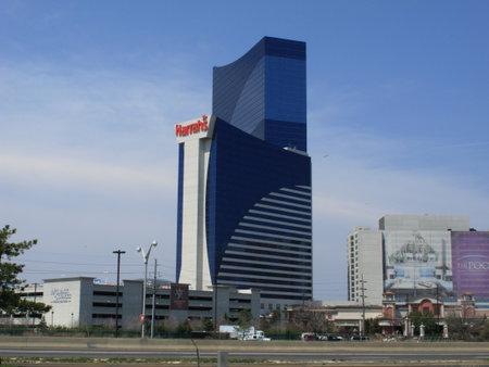 Atlantic City, New Jersey - April 20, 2011: Harrahs Hotel and Casino resort in the Marina section of Atlantic City.