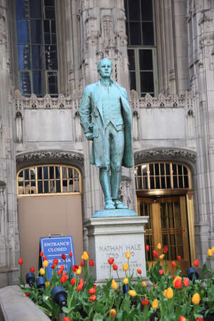 Chicago, April 26, 2010: Nathan Hale Statue outside the Tribune Tower in Chicago, Illinois. The Chicago Tribune newspaper erected the statue in 1940.
