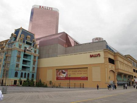Atlantic City, New Jersey - May 19, 2010: Boardwalk, Ballys Casino Hotel and the New Jersey shore.