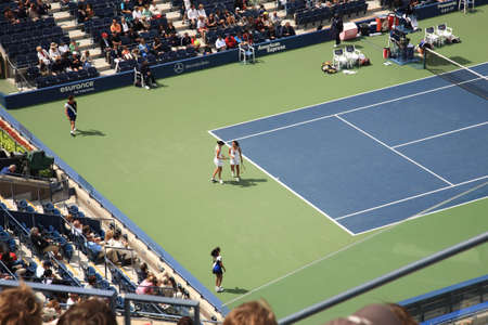 New York - September 9, 2010: A crowded Arthur Ashe Stadium for a U.S. Open Womens Doubles tennis match in Queens, New York City.