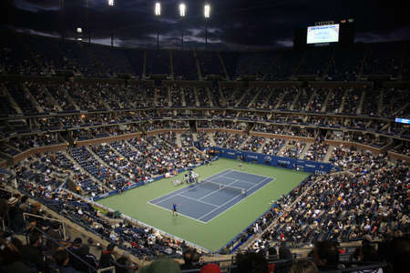 us: New York - September 9, 2010: A crowded Arthur Ashe Stadium for a night U.S. Open tennis match in Queens, New York City.