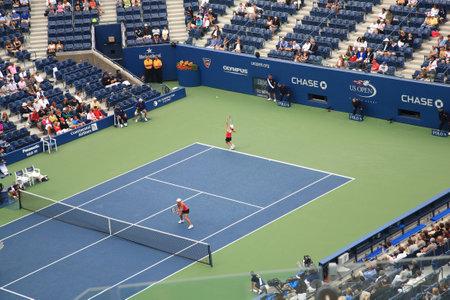 linesman: New York - September 9, 2010: Arthur Ashe Stadium during a U.S. Open Womens Doubles tennis match in Queens, New York City.  Editorial